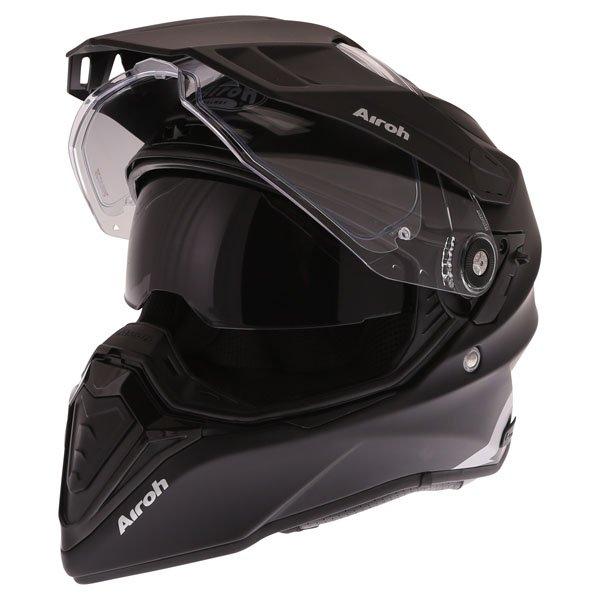 Airoh Commander Matt Black Adventure Motorcycle Helmet Open With Sun Visor