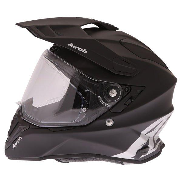 Airoh Commander Matt Black Adventure Motorcycle Helmet Left Side With Peak Detached