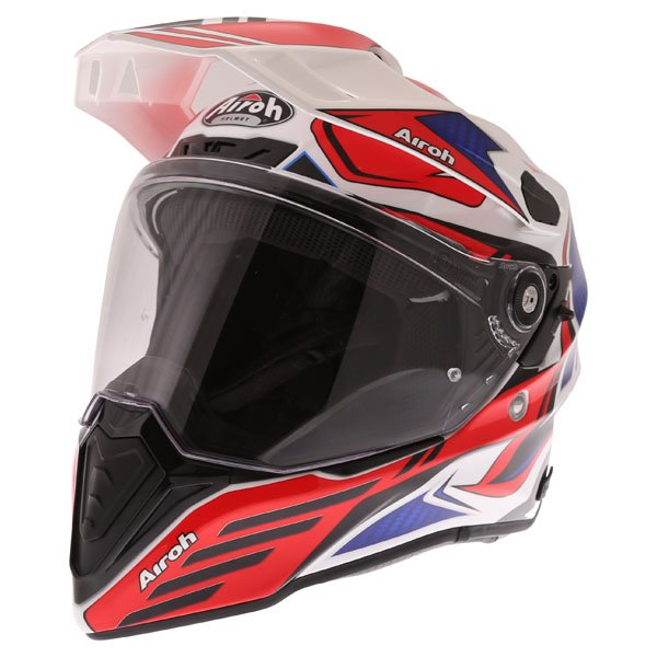 Airoh Commander Carbon Red Adventure Motorcycle Helmet Front Left