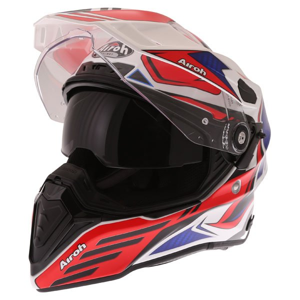 Airoh Commander Carbon Red Adventure Motorcycle Helmet Open With Sun Visor