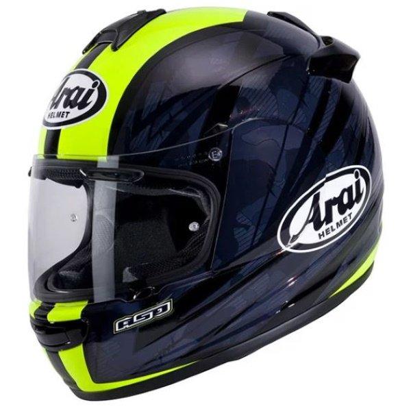 Arai Debut Blast Flo Yellow Full Face Motorcycle Helmet Front Left