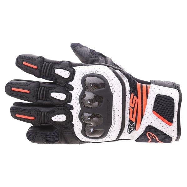 SP X Air Carbon V2 Gloves Black White Red Fluo Alpinestars