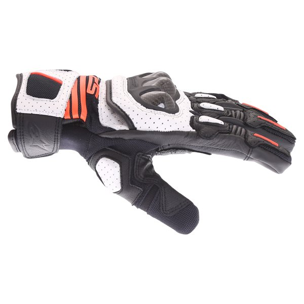 Alpinestars SP X Air Carbon V2 Black White Red Fluo Motorcycle Gloves Thumb Side