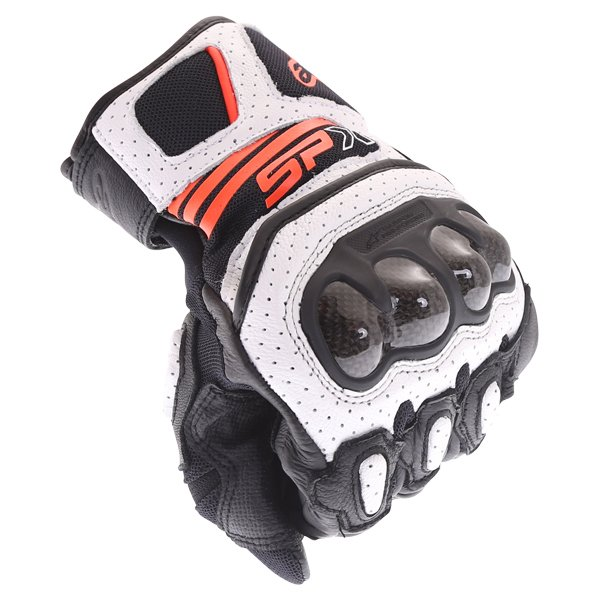 Alpinestars SP X Air Carbon V2 Black White Red Fluo Motorcycle Gloves Knuckle