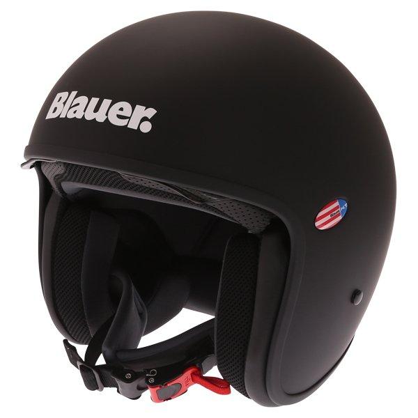 Blauer Pilot 1.1 Matt Black White Open Face Motorcycle Helmet Front Left