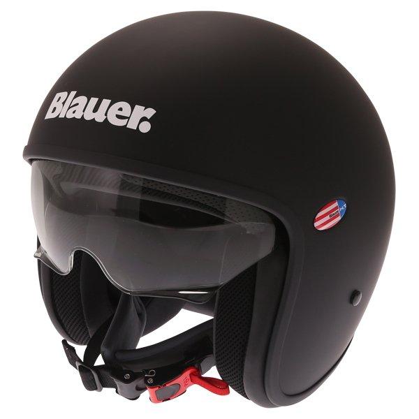 Blauer Pilot 1.1 Matt Black White Open Face Motorcycle Helmet Open With Sun Visor