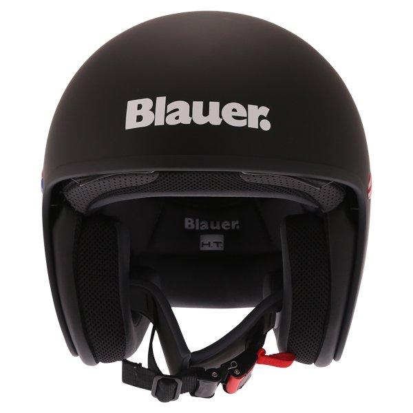 Blauer Pilot 1.1 Matt Black White Open Face Motorcycle Helmet Front