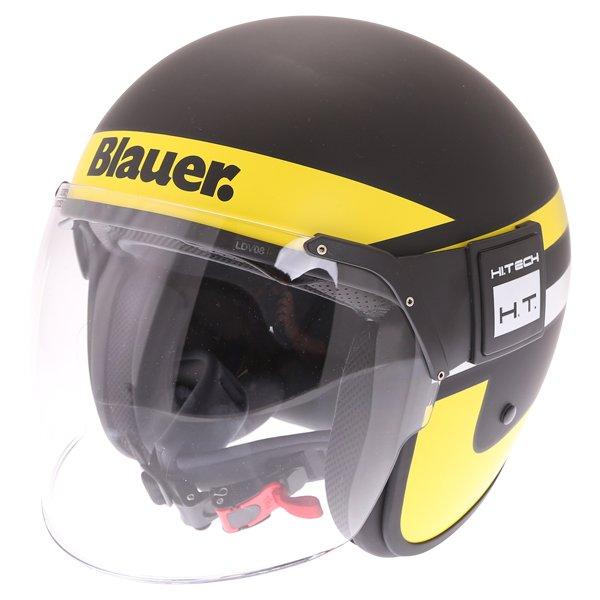 Blauer POD Stripes Black Yellow White Open Face Motorcycle Helmet Front Left