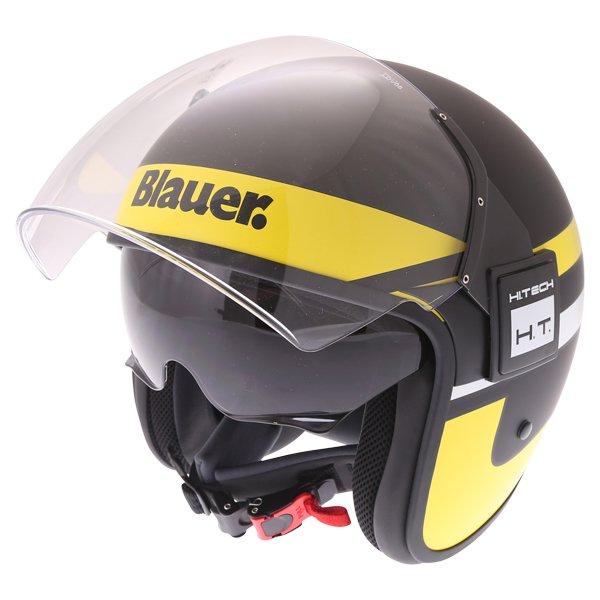 Blauer POD Stripes Black Yellow White Open Face Motorcycle Helmet Open With Sun Visor