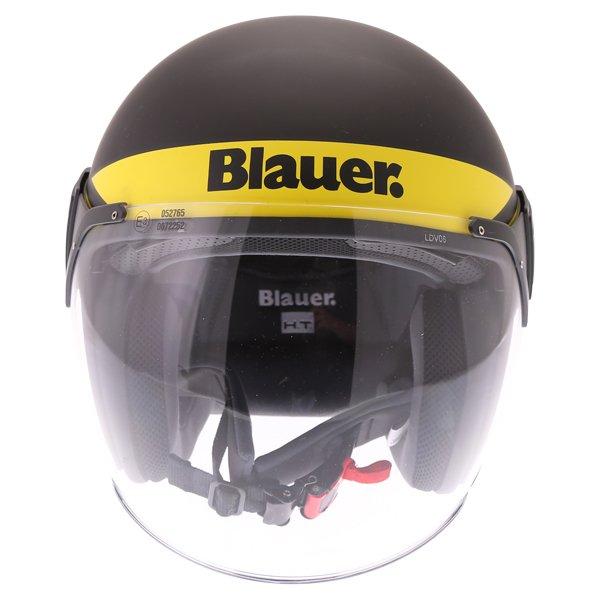 Blauer POD Stripes Black Yellow White Open Face Motorcycle Helmet Front