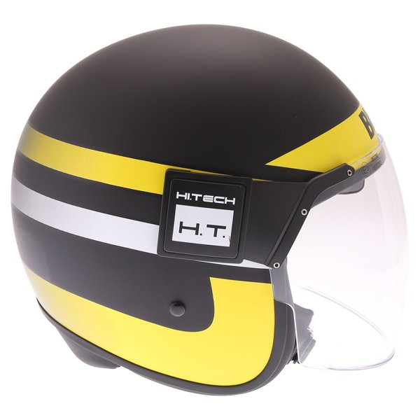 Blauer POD Stripes Black Yellow White Open Face Motorcycle Helmet Right Side