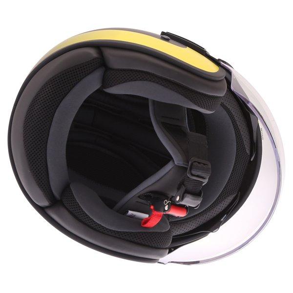 Blauer POD Stripes Black Yellow White Open Face Motorcycle Helmet Inside