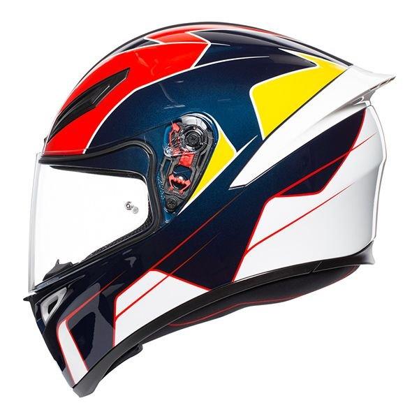 AGV K1 Pitlane Blue Red Yellow Full Face Motorcycle Helmet Left Side
