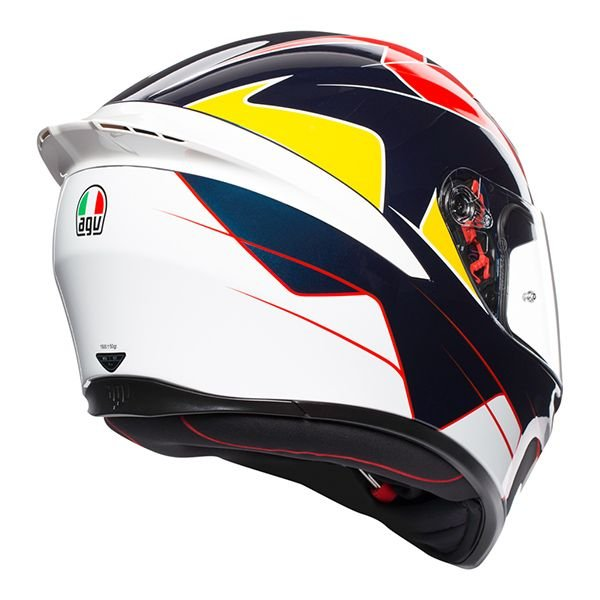 AGV K1 Pitlane Blue Red Yellow Full Face Motorcycle Helmet Back Right