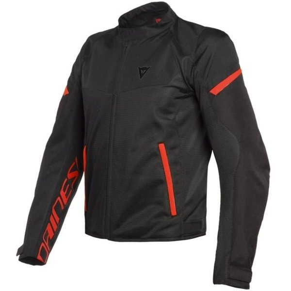 Dainese Bora Air Black Fluo Red Textile Motorcycle Jacket Front