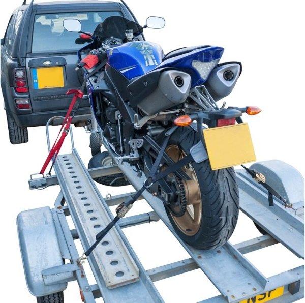 Bike It Motorcycle Tiedown Tyre Fixing in use