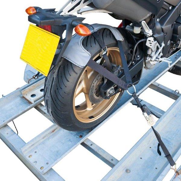 Bike It Motorcycle Tiedown Tyre Fixing rear wheel detail