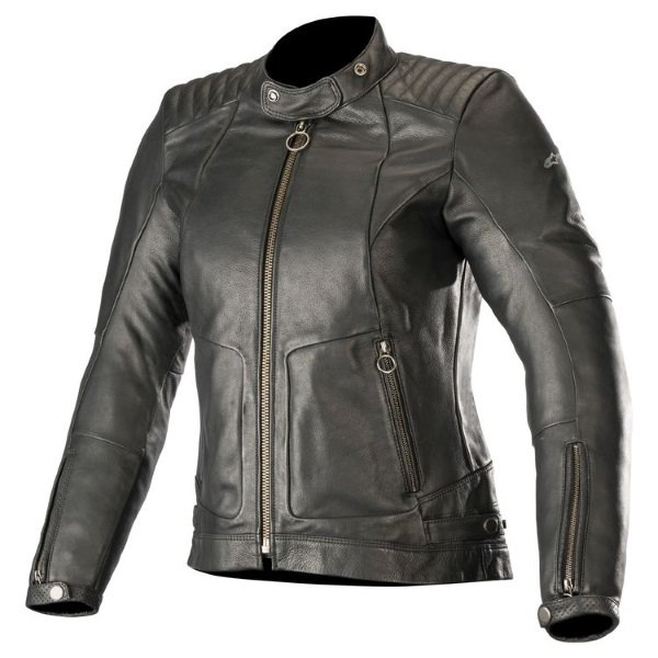 Alpinestars Gal Womens Black Leather Motorcycle Jacket Front