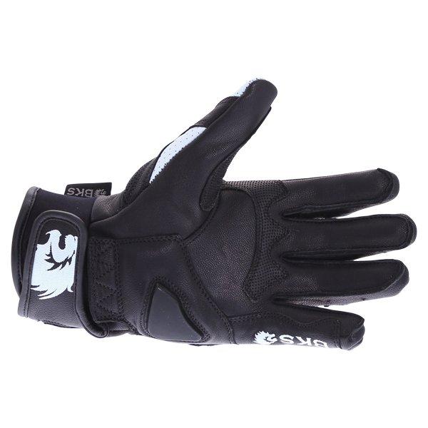 BKS 103 Circuit Black White Motorcycle Gloves Palm