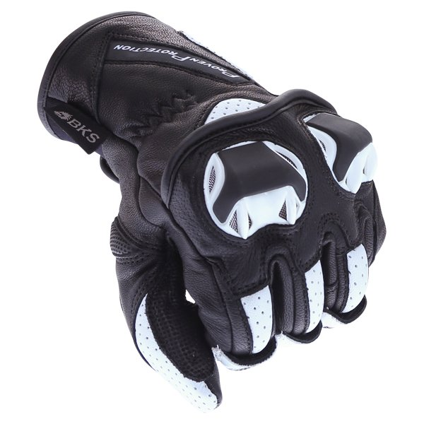 BKS 103 Circuit Black White Motorcycle Gloves Knuckle