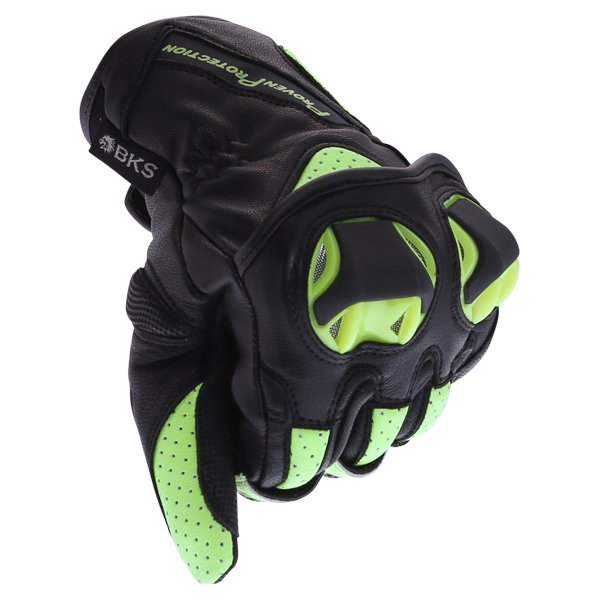 BKS 103 Circuit Black Fluo Yellow Motorcycle Gloves Knuckle