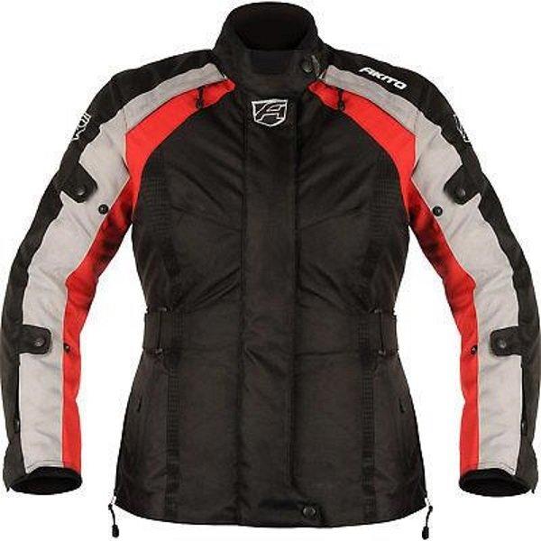 Akito Tornado Ladies Black Red Textile Motorcycle Jacket Front