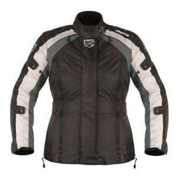 Akito Tornado Ladies Black Gun Textile Motorcycle Jacket Front