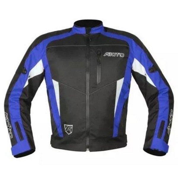 Akito Horizon Black Blue Textile Motorcycle Jacket Front