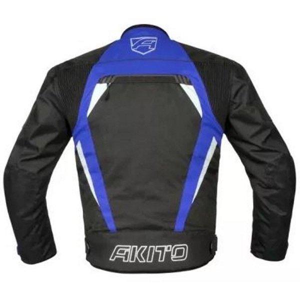Akito Horizon Black Blue Textile Motorcycle Jacket Back