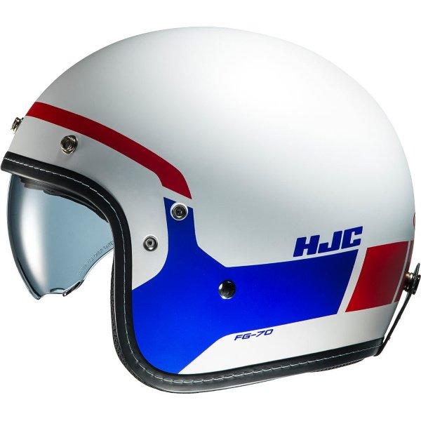 HJC FG-70s Modik Red White Blue Open Face Motorcycle Helmet Left Side