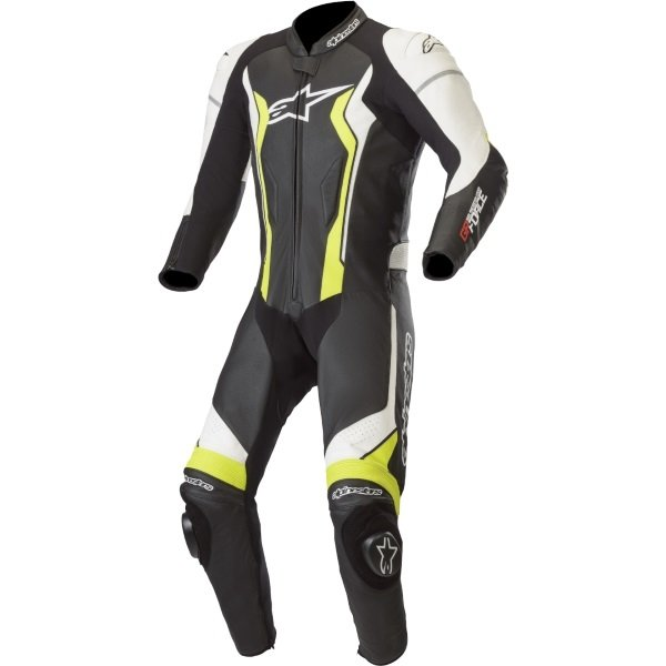 Alpinestars GP Force Black White Fluo Yellow Leather 1 Piece Motorcycle Race Suit Front