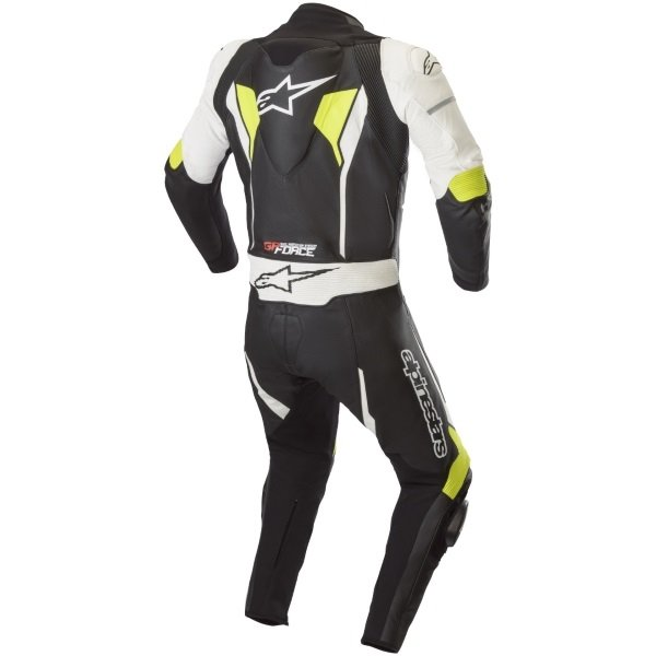 Alpinestars GP Force Black White Fluo Yellow Leather 1 Piece Motorcycle Race Suit Rear