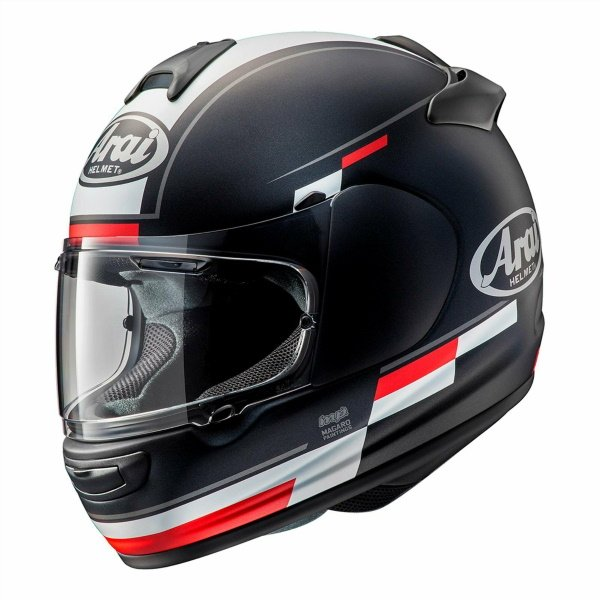 Arai Debut Blaze Black White Red Motorcycle Helmet Front Left