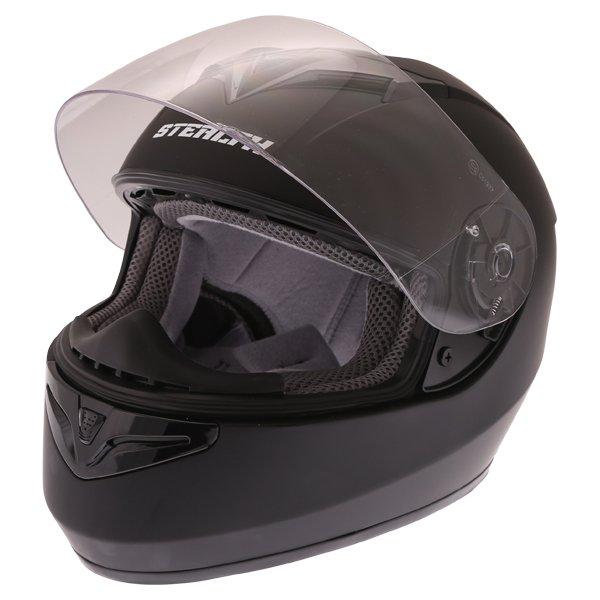 Stealth V121 Matt Black Full Face Motorcycle Helmet Open Visor
