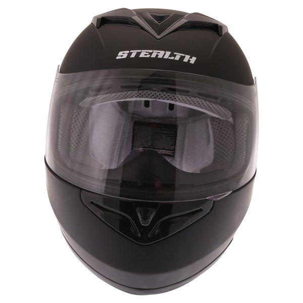 Stealth V121 Matt Black Full Face Motorcycle Helmet Front