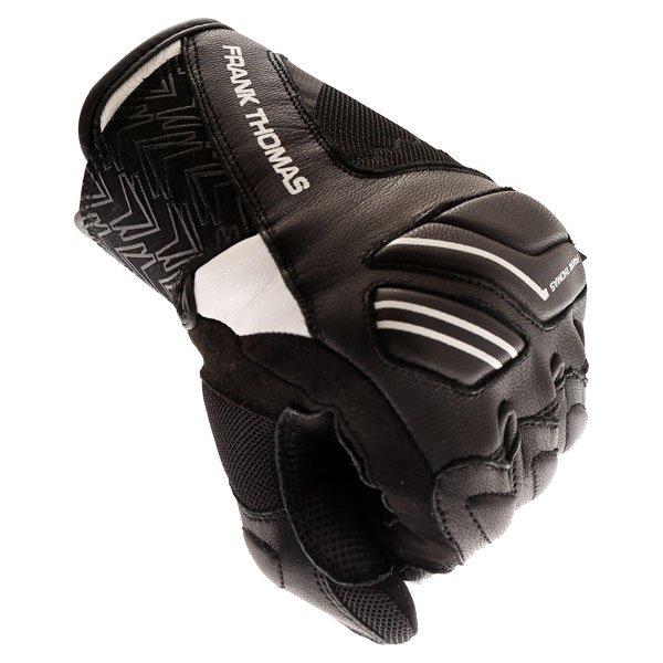 Frank Thomas FT-53 Ladies Black White Motorcycle Gloves Knuckle