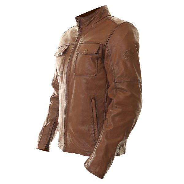 BKS Brandy Mens Brown Leather Motorcycle Jacket Side