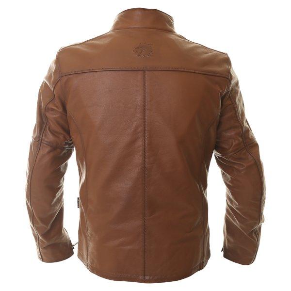 BKS Brandy Mens Brown Leather Motorcycle Jacket Back