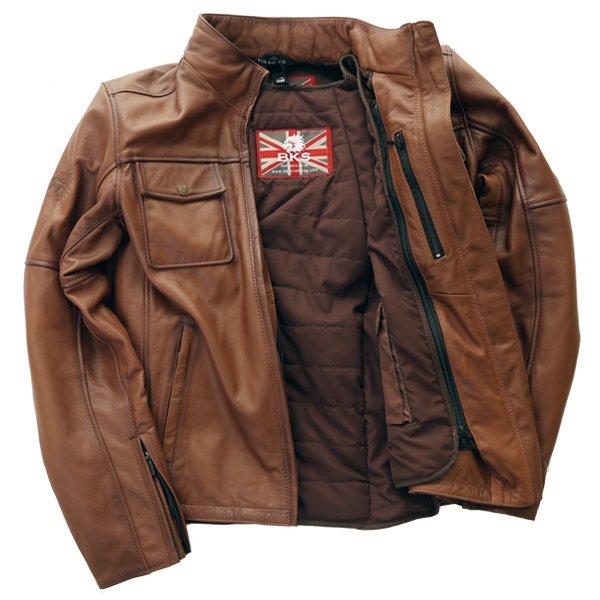 BKS Brandy Mens Brown Leather Motorcycle Jacket Inside