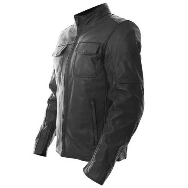 BKS Brandy Mens Black Leather Motorcycle Jacket Side
