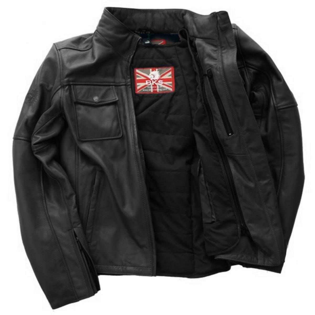 BKS Brandy Mens Black Leather Motorcycle Jacket Inside