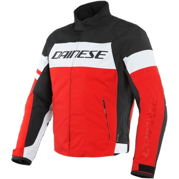 Dainese Saetta D-Dry White Red Textile Motorcycle Jacket Front