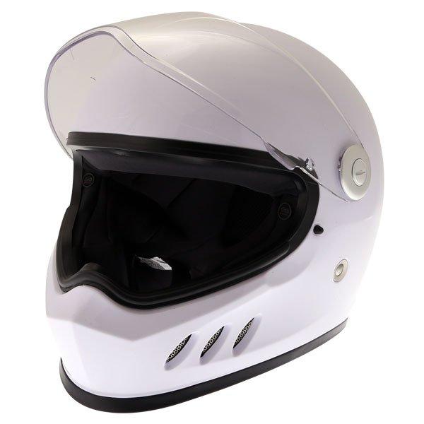 Frank Thomas FT833 Predator White Full Face Motorcycle Helmet Open Visor