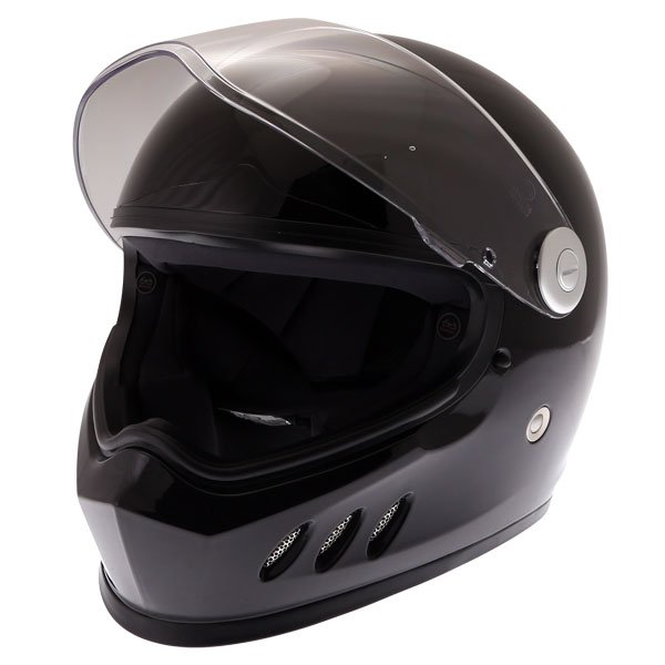 Frank Thomas FT833 Predator Black Full Face Motorcycle Helmet Open Visor