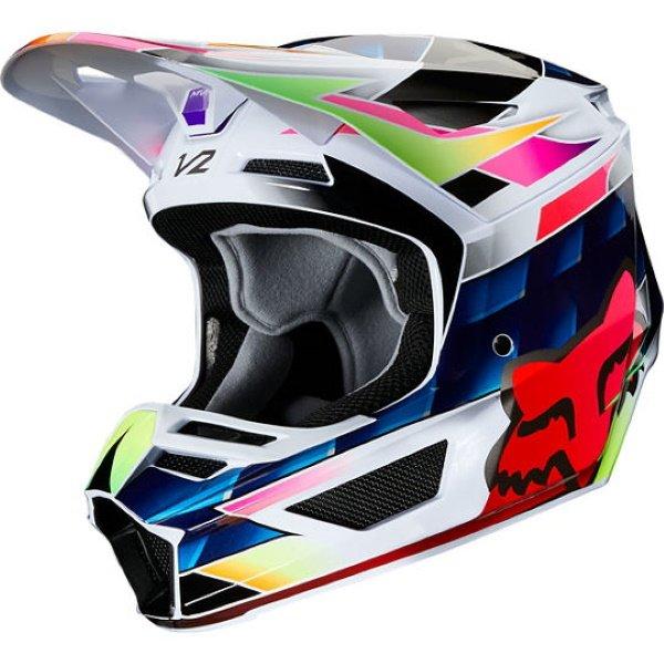 Fox V2 Kresa Multi Coloured Motocross Helmet Front Left
