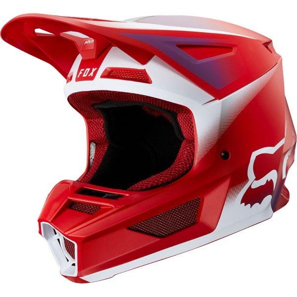 Fox V2 Vlar Flame Red Motocross Helmet Front Left