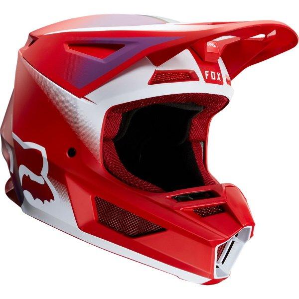 Fox V2 Vlar Flame Red Motocross Helmet Front Right