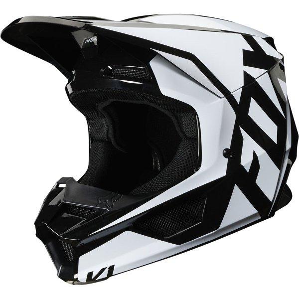 Fox V1 Prix Black Motocross Helmet Front Left