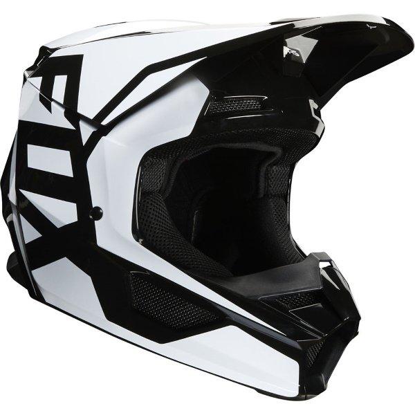 Fox V1 Prix Black Motocross Helmet Front Right