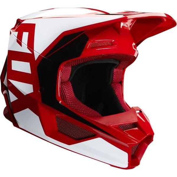 Fox V1 Flame Red Motocross Prix Helmet Front Right